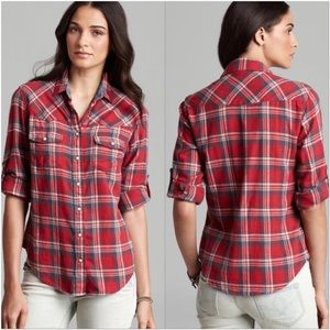 Jachs Girlfriend Bea Red Blue Button Down Flannel